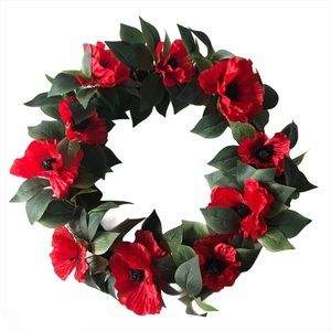 "20"" Artificial Red Poppy Flower Wreath"